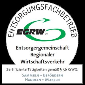 Logo des EGRW-Zertifikates für Entsorgungsfachbetriebe